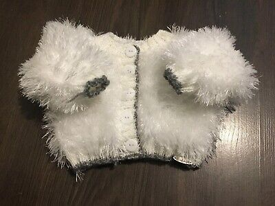 Brand New Hand Made Glitter Fur Chunky Knit Baby Girls Coatigan New Born