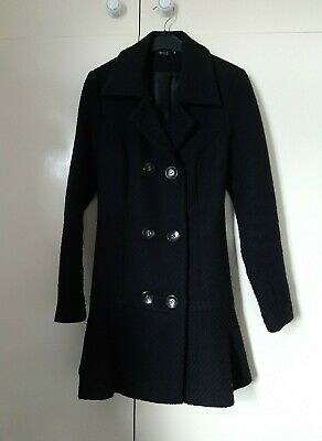 Ladies Girls Black Textured Coat by Miso Size 8 Frill Hem Used