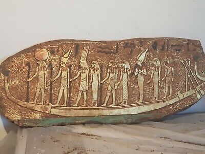 Rare Antique Ancient Egyptian Stela Funeral Boat Universe Sky Tour 1750-1670BC