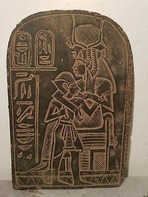 Rare Antique Ancient Egyptian Stela God Isis God Horus Good Health 1840-1760BC