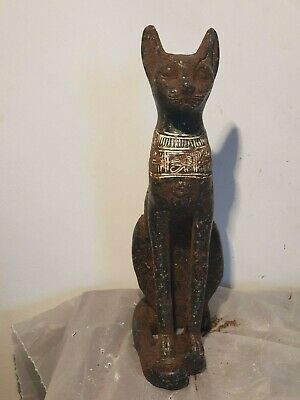 Rare Antique Ancient Egyptian Statu God Bastet Cat Scarab Protection1780-1690BC