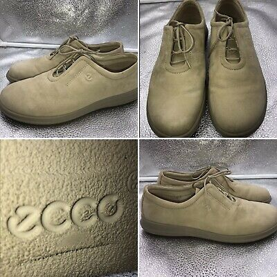 Ecco Sz 39 6 Beige Suede Womens Lace Up Casual Trainers Shoes
