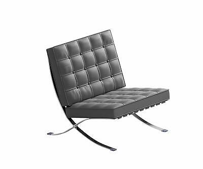 Genuine Leather Barcelona Chair Premium Reproduction Stainless Frame Accent Sofa