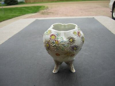 Small Antique Hand Decorated Enamel Painted Footed Porcelain Rosebowl Vase