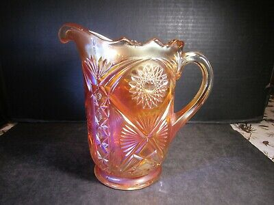 RARE Antique Millersburg MARILYN Pattern Carnival Glass Water Pitcher