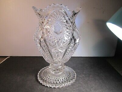 Antique Millersburg Clear Crystal Glass Venetian Giant Spittoon Whimsey
