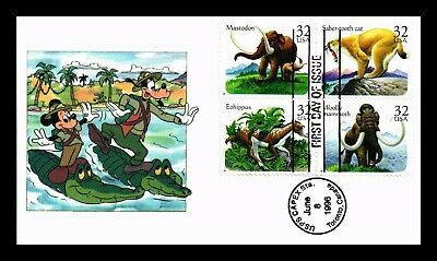 Dr Jim Stamps Us Capex Event Prehistoric Animals First Day Cover Block Of Four