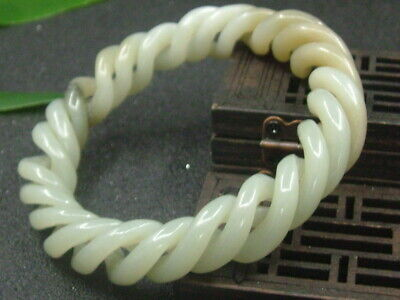 Chinese Antique Celadon Nephrite Hetian -OLD-Jade Hollow 3-Twist wire Bracelets