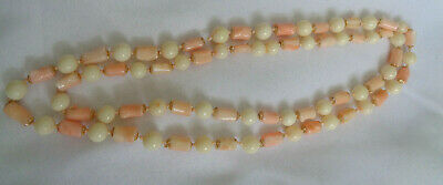 "Victorian Natural Angel Skin Coral Necklace 30"" Long  White & Pink Coral"