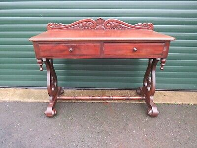 Victorian Mahogany Galleried Washstand Console Window Table Lyre Sides Drawers