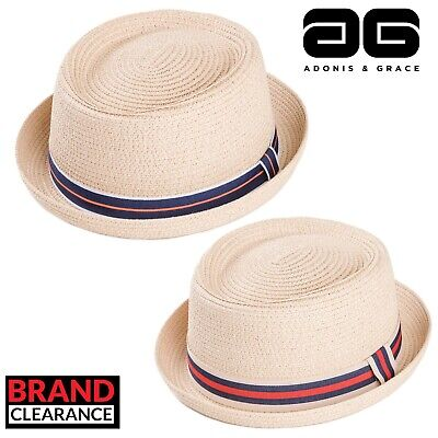 2 Colours Fashion Festival Mens by A/&G Straw Pork Pie with Hawaian Band