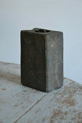 Antique Clock Weight, Cast Iron 3.8kg Rectangle,Black 12x9x5.5cm With Hook