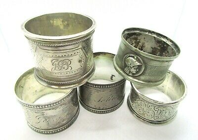 4 Vintage Sterling Silver Napkin Rings + 1 Plated Napkin Ring