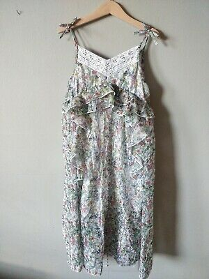 Next Chiffon green floral Party Dress Sheer Lined Age 8 Girls Kids