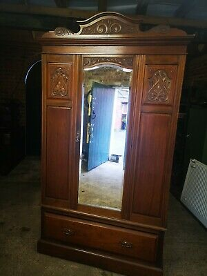 Antique Wardrobe With mirror and drawer. 215cmH X 115cmW X 42cmD.