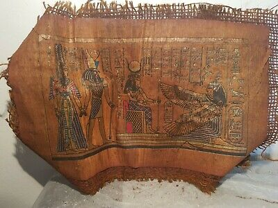 Rare Antique Ancient Egyptian papyrus Gods Hathor isis horus Corona marry 1213BC