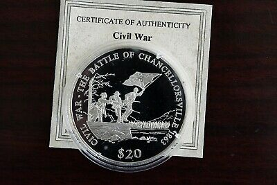 Battle of Chancellorsville Republic of Liberia Proof 20 Dollar .999 Fine Silver