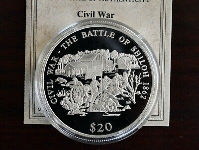 The Battle of Shiloh Republic of Liberia Proof 20 Dollar .999 Fine Silver Coin
