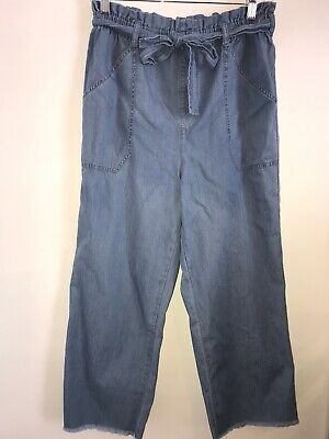 Express Extreme High Rise Chambray Paper Bag Frayed Hem Ankle Pants Size Small