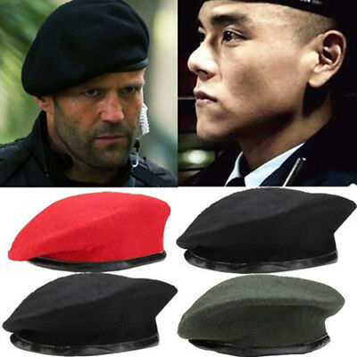 ARMY TACTICAL CLASSIC BERET MILITARY STYLE MENS HAT LEATHER EDGING XL-B1109