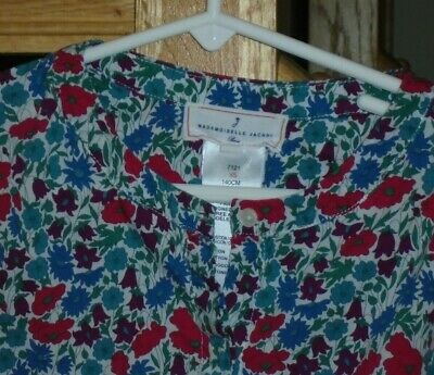 "Jacadi Mademoiselle Liberty Print Blouse  sz XS   100% Cotton 29"" Chest MINT!"