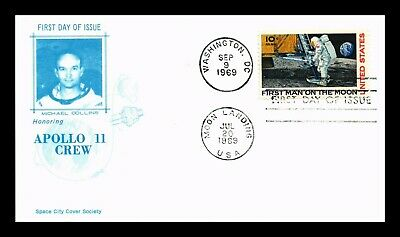 Dr Jim Stamps Us Apollo 11 Crew Michael Collins Air Mail First Day Cover C76