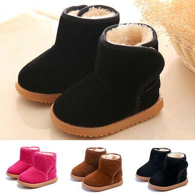 Cute Kids Boys Girls Warm Fur Lined Slip On Shoes Ankle Boots Winter Snow Shoes