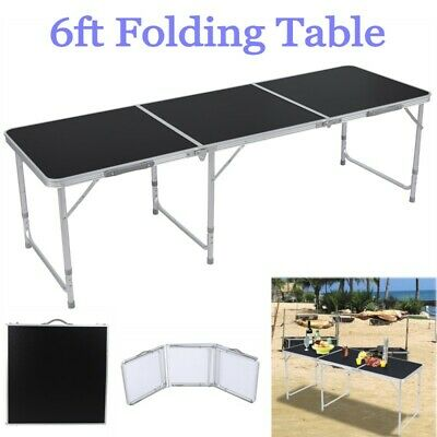 6FT Folding Table Aluminium Alloy In/Outdoor Picnic Party Dining Camping Black