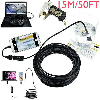 15m/50 Pipe Inspection Camera Endoscope Video Ft Sewer Drain Cleaner Waterproof