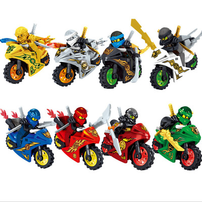 8pcs Ninjago Motorcycle Ninja Mini Figures Building Blocks Toy Kai Jay Sensei Wu