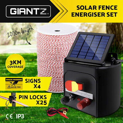 Giantz 3km Solar Electric Fence Energiser Energizer + 2KM Poly Tape Wire Fencing