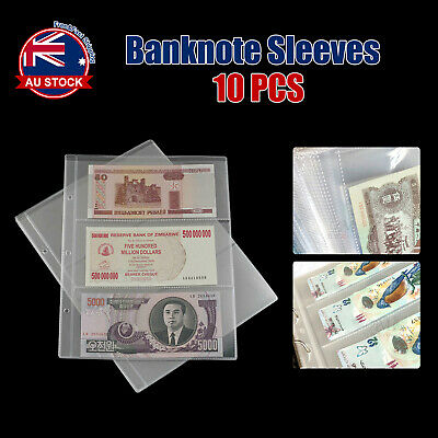 10pcs Paper Money Banknote Holders Album 3 Pockets Pages Sleeves Storage Note L