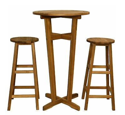 Rustic Bar Set 2 Stools With Table Tall Breakfast Kitchen Dining Chair 2 Seater
