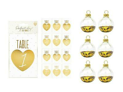 Table Numbers With Glass Bauble Holders Centrepiece Wedding Decor Pack Of 12