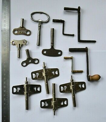 Antique Wall, Long 9x Clock Keys and 4x Winding Keys Sweden Various Sizes Bundle