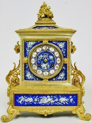Sublime Antique French 8 Day Bronze Ormolu & Sevres Porcelain Cube Mantle Clock