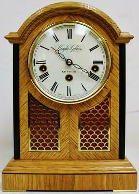 Vintage Knight & Gibbins London Tiger Oak & Brass Musical Library Bracket Clock
