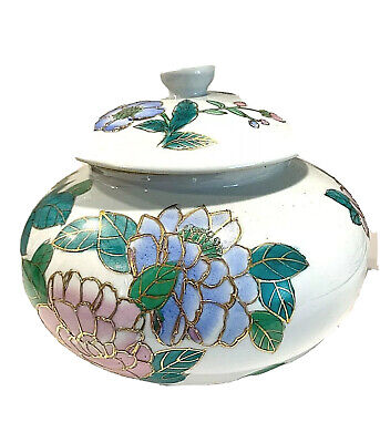 Vintage Large Round Chinese Hand Painted Porcelain Urn-Vase + Lid Center Piece