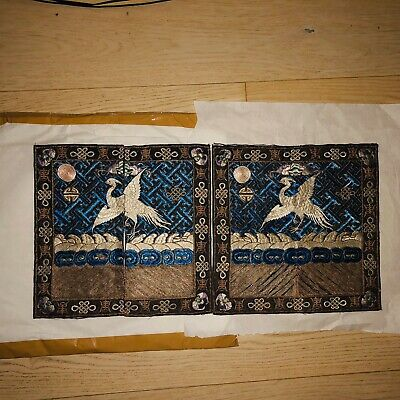 Antique Chinese Qing Dynasty Silk Embroidery Civil Rank Badges.Pair,5th rank