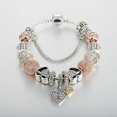 Authentic LUXURY Bracelet Silver Heart Love Gold Crystal Charm