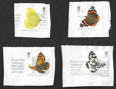 GB 2013 Butterflies 1st class stamps x 4 used on paper
