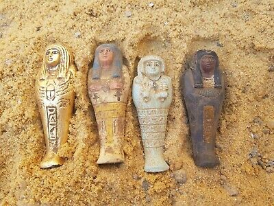 Rare Antique Ancient Egyptian 4 Ushabti Servant Minions dead mummy 1810-1740BC