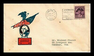 Dr Jim Stamps Us 3C George Washington Bicentenary First Day Cover Scott 708