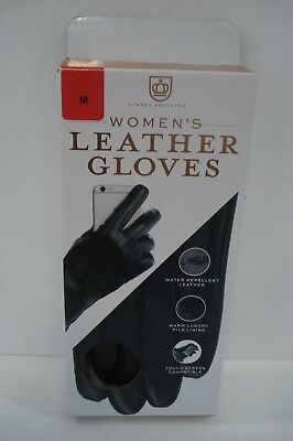 FOWNES BROTHERS Women's Black Leather gloves Touch Screen Water Repellent Pile M