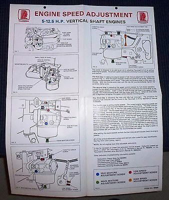 Tecumseh Engine Speed Adjustments 5-12.5 Hp Vert. Shaft Engines  Wall Guide