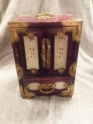 Vintage CHINESE JEWELRY CHEST BOX 60'S Wood, MULTI INLAY JADE CARVINGS Brass