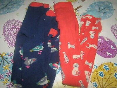 Two Pairs Of  Girls Mini Boden, Duck And Dog Tights  Age 7-8 Years