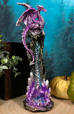 Purple Dragon Perching On Crystal Rock Quarry Incense Burner Tower Figurine