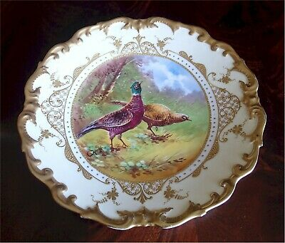 """Gorgeous Antique Limoges Charger Pheasants Gold Gilt Signed Carville 13"""""""