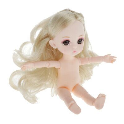 Lots 2 6inch Miniature 3D Eyes Articulated Nude Dolls Body Girl Toy Gifts